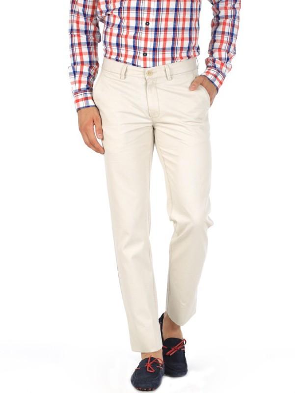 Basics Slim Fit Men White Trousers
