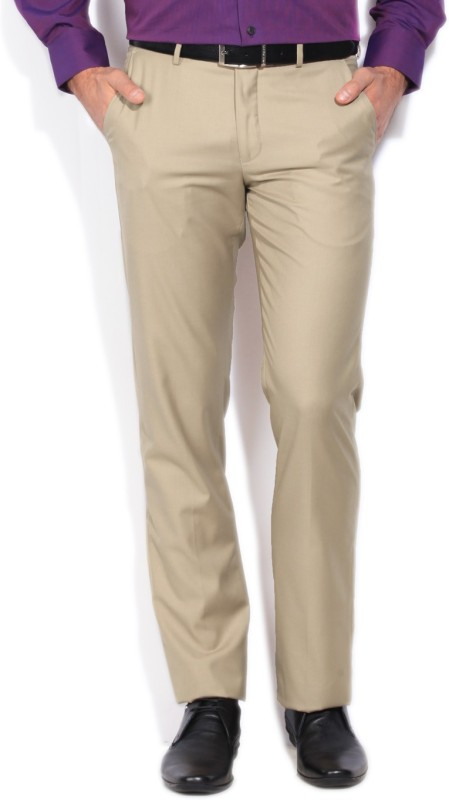 Louis Philippe Slim Fit Mens Beige Trousers