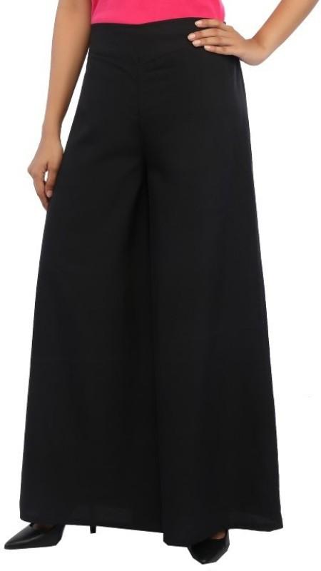 Rigoglioso Flared Women Black Trousers