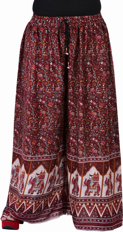 Soundarya Palazzo Flared Women Maroon Trousers