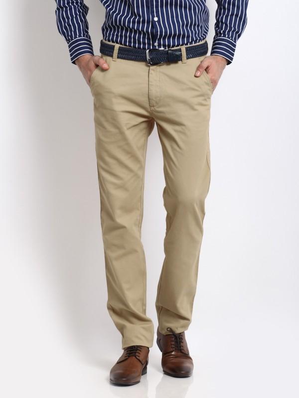Arrow Sports Slim Fit Mens Beige Trousers