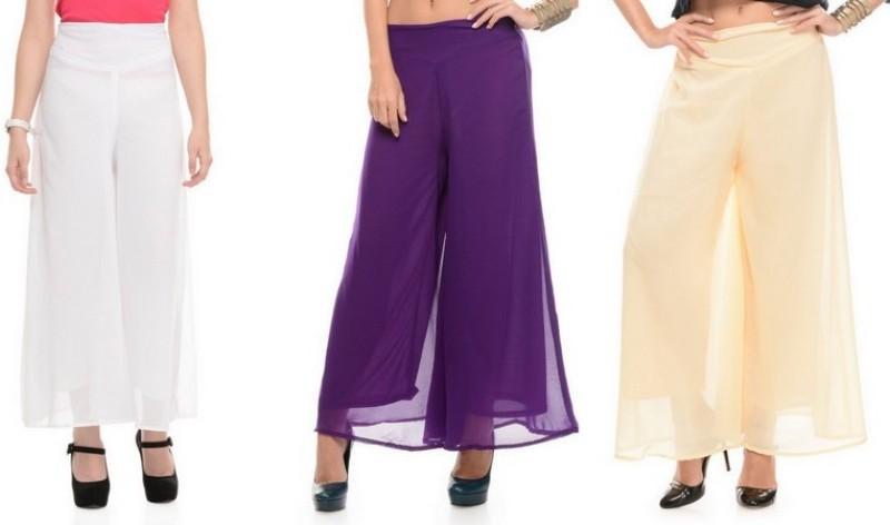 Stop Look Regular Fit Women Purple, Beige, White Trousers