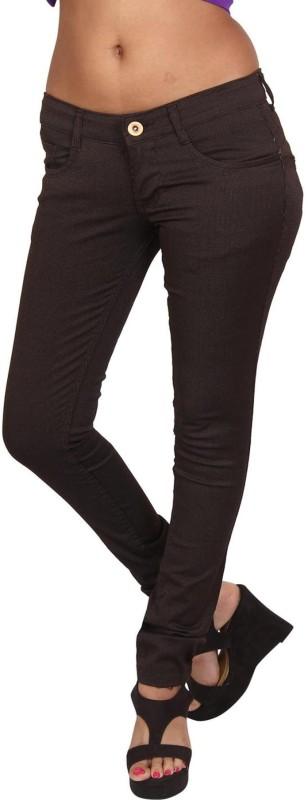 Prankster Designer Skinny Fit Women Brown Trousers