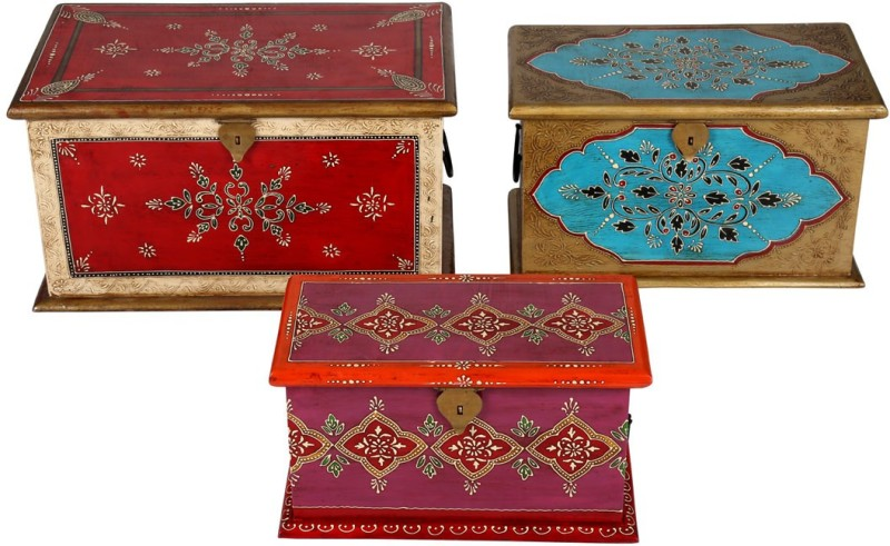 Rajrang Floral traditional trunk box Solid Wood Trunk(Finish and Fabric Color - White)