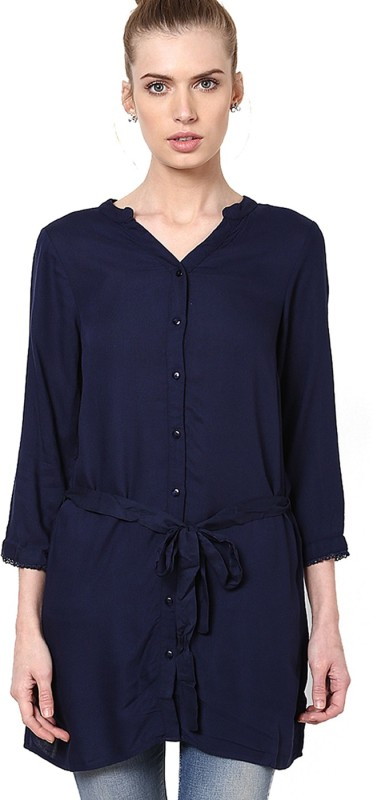 Vero Moda Casual 3/4 Sleeve Solid Women Dark Blue Top