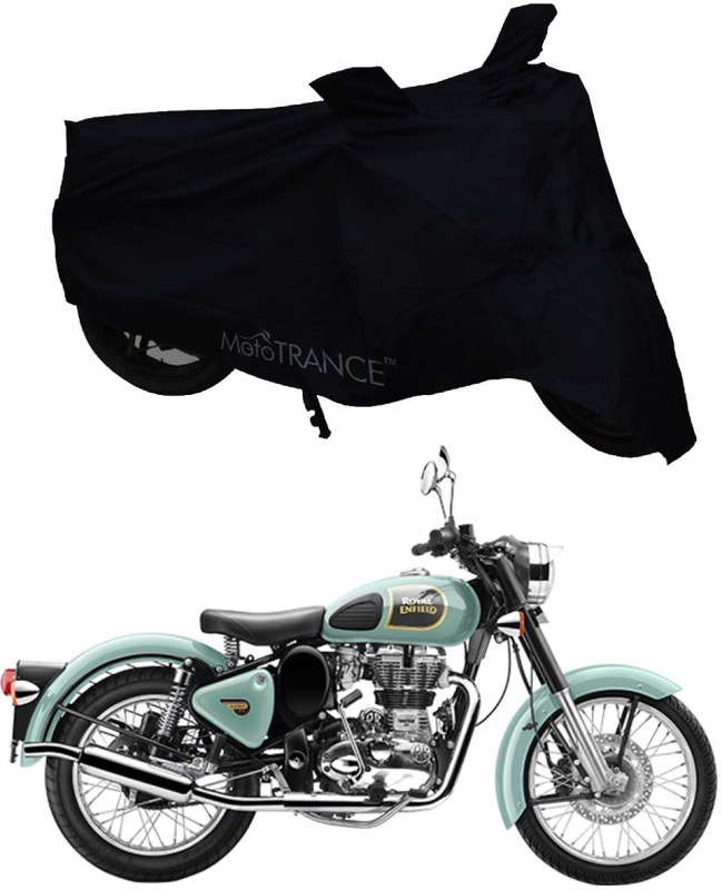 Mototrance Two Wheeler Cover for Royal Enfield(Classic 350, Black)
