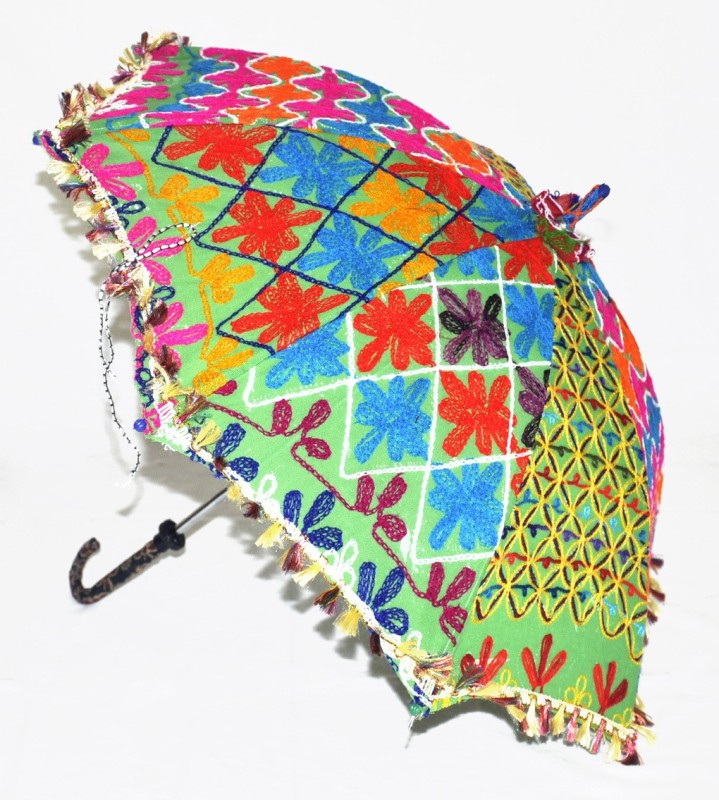 Lal Haveli Handmade One Fold Cotton Parasol Ladies Fashionable Umbrella(Green)