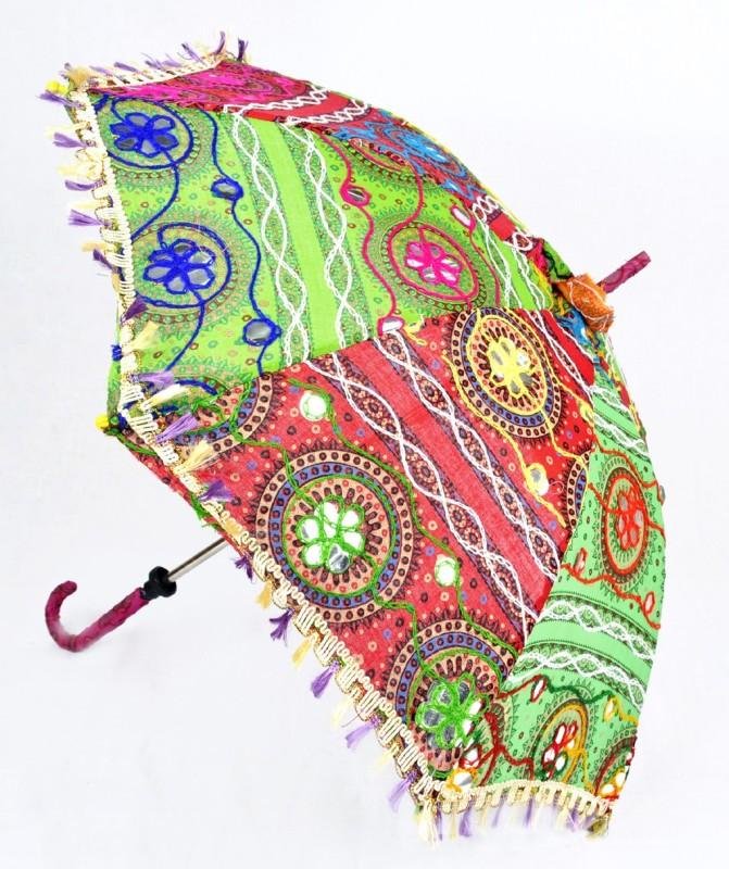 Lal Haveli Womens Cotton Parasol Rajasthani Embroidery Design Fashionable Colorful Sun Umbrella(Multicolor)