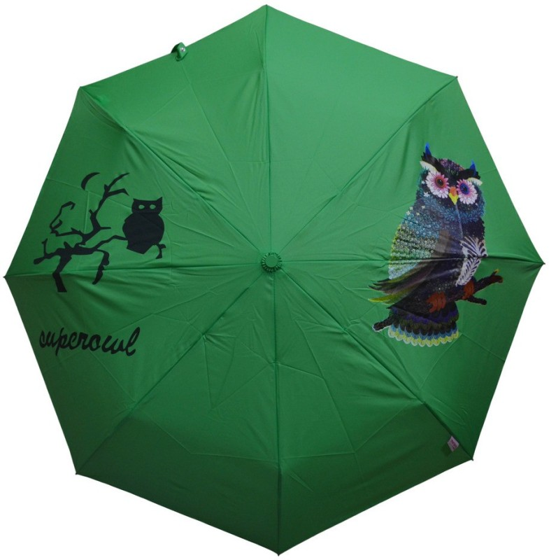 Murano 3 fold auto open green color owl print Umbrella(Green)