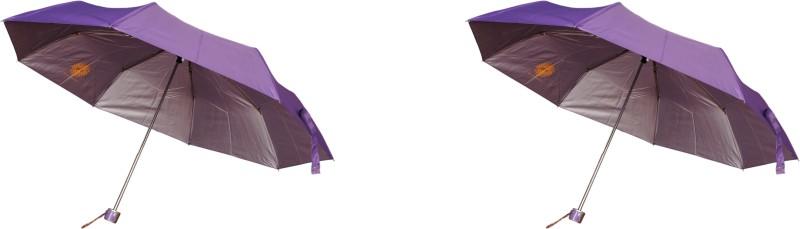 Bs Spy Pakiza Purple 3 Fold Pack Of 2 Umbrella(Purple)