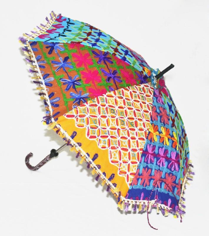 Lal Haveli Handmade Cotton Parasol Fashionable Umbrella(Black)
