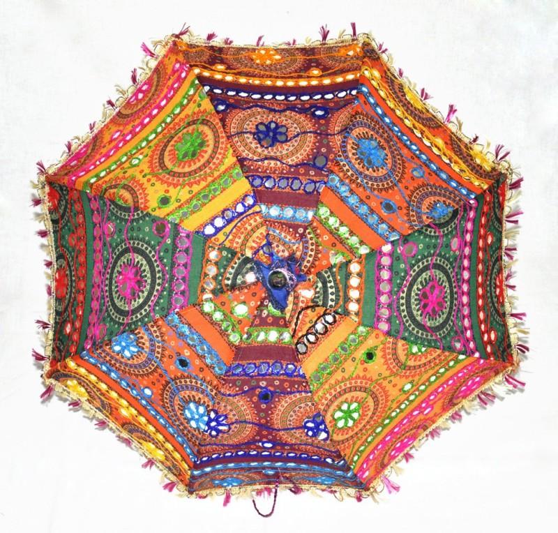 Lal Haveli Tiki Embroidery Work Rajasthani Umbrella(Multicolor)