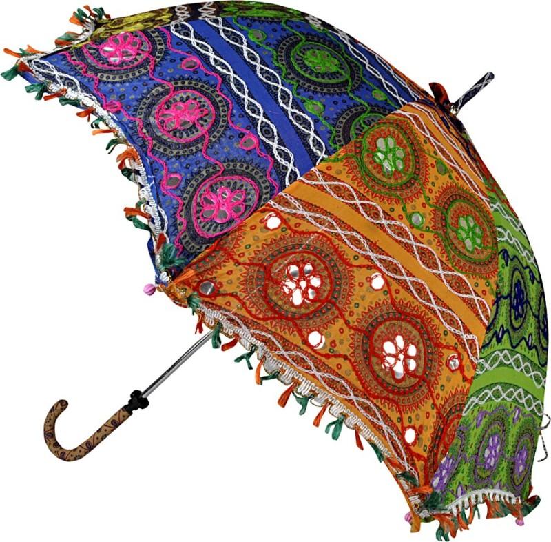 Lal Haveli Womens Ethnic Fashionable Cotton Summer Umbrella(Multicolor)