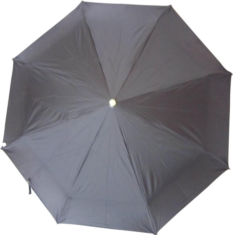 Fendo Hand Open 3 Fold Nylon Fabric Rain Twister Umbrella(Black)