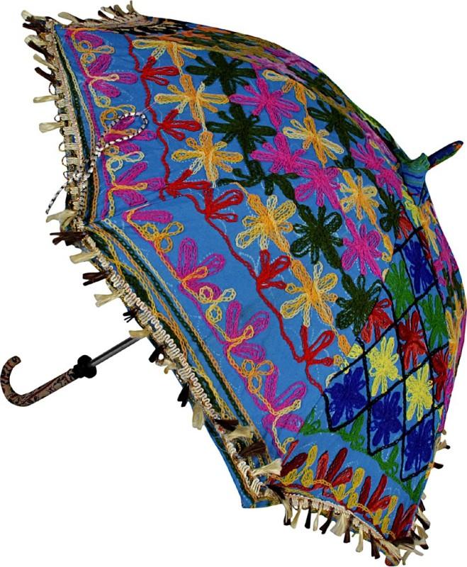 Lal Haveli Ethnic Designer Single Fold Cotton Umbrella(Blue)