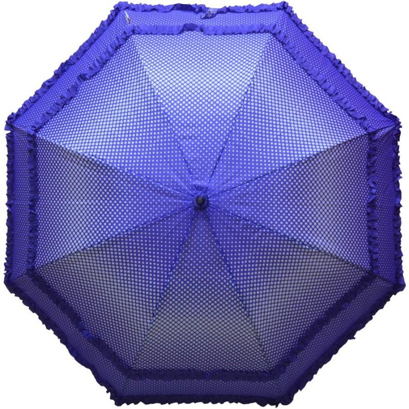 Murano Single Fold Dot with Double Frill Stylish Umbrella(Blue)