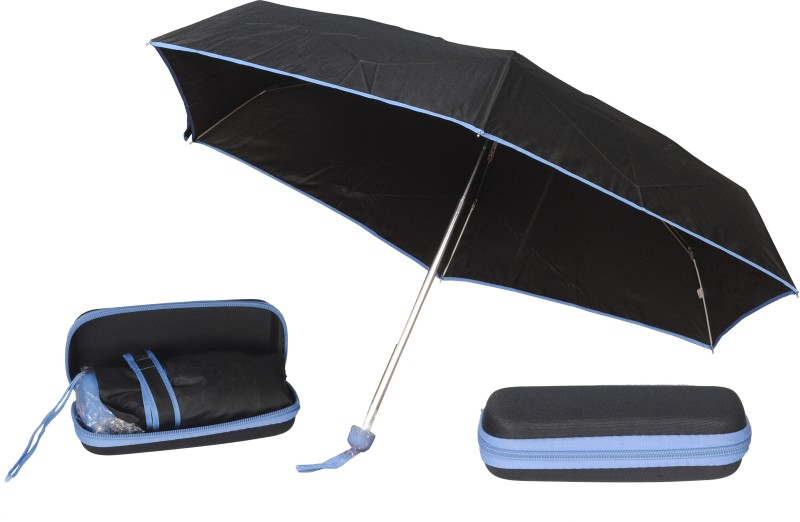 Bs Spy 5 Foldd Portable Black With Blue Lining With Case Umbrella(Blue)
