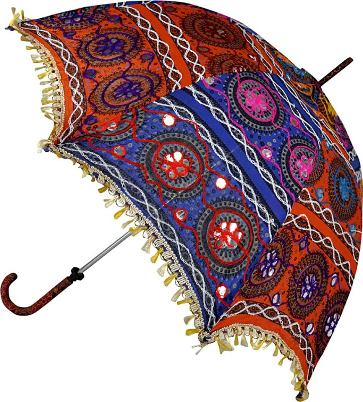 Lal Haveli Embroidery Work Cotton Ladies Summer Umbrella(Multicolor)