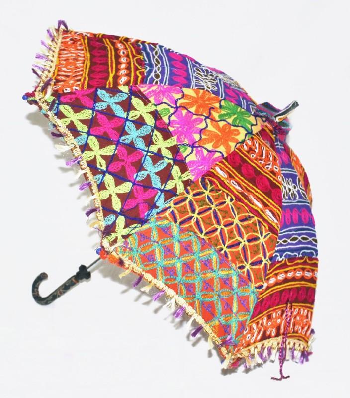 Lal Haveli Rajasthani Handmade Single Fold Umbrella(Multicolor)