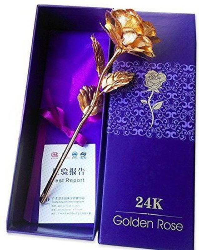 Goods Bazaar Valentine Special Rose In 24k Gold with Exclusive Velvet Gift Box Artificial Flower Gift Set