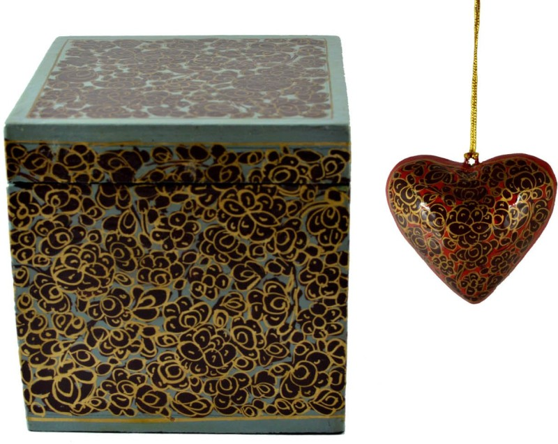 Craftuno Handcrafted Paper Mache Box & Heart Set Showpiece Vanity Box(Multicolor)