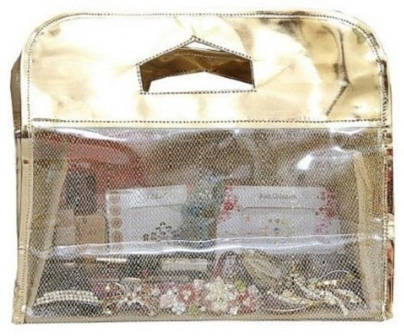 Kuber Industries Cosmetic Make Up Vanity Box(Golden)