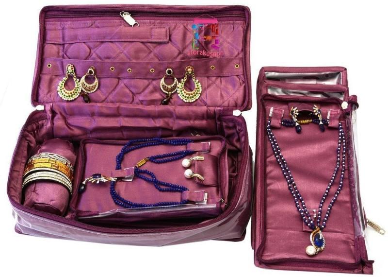 Atorakushon Bangle Necklace Earrings Tops Studs Half Set Bag Case Storage Pouch Vanity Box(Purple)