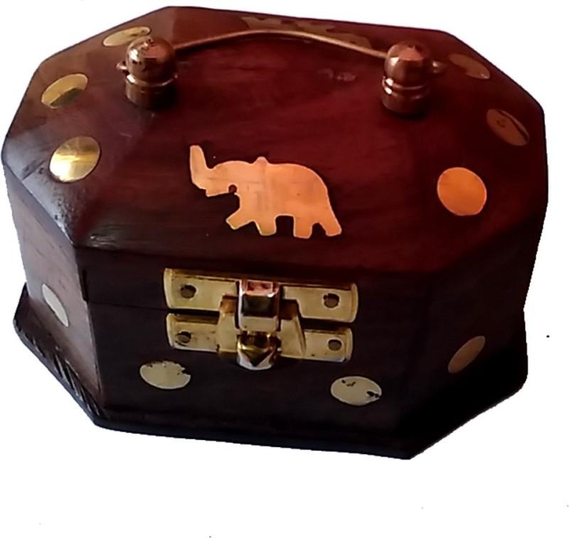 SwadesiBuyzzar wooden Box Multipurpose Vanity Box(Brown, Golden)