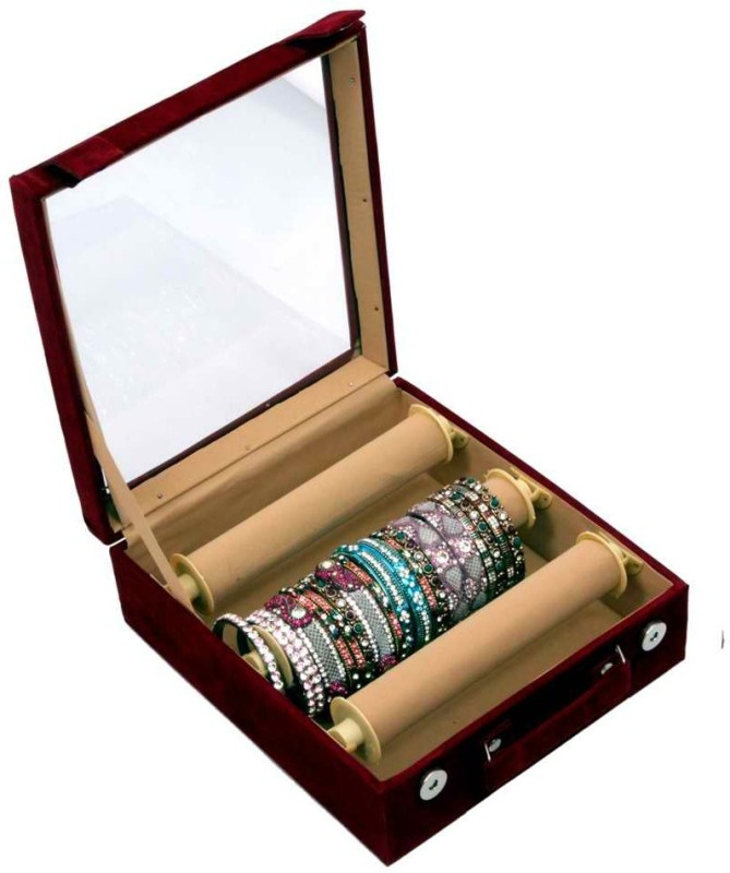 Kuber Industries Bangle Box Maroon Three Roll Makeup Vanity Box(Maroon)