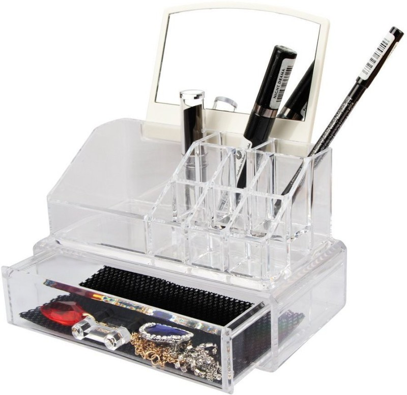 BlushBees Transparent Acrylic Cosmetic Organizer with Drawer and Mirror Makeup Vanity Box(Transparent)