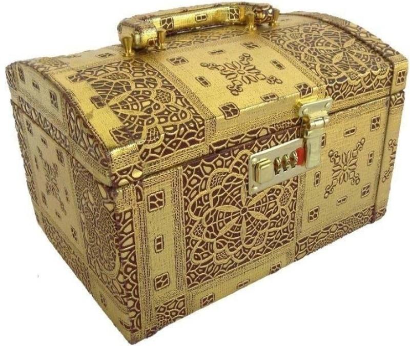 Skyhawk Jewellery Makeup Vanity Box(Golden)