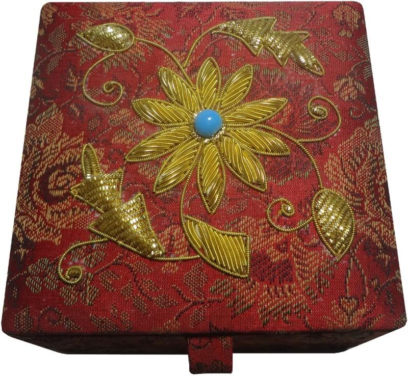 Avinash Handicrafts 10x10 cm Red in zari work Makeup, Jewellery, Decorative Vanity Box(Red)