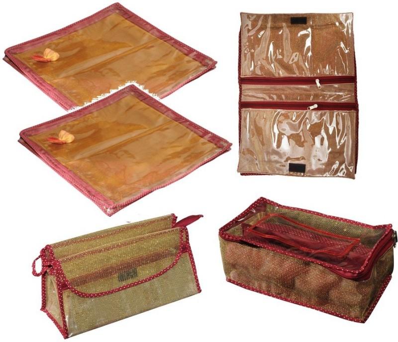 Srajanaa Makeup kit, Saree cover (Set of 2), Bangle- (2 Rods) and Innerwear cover / Organiser Multiutility Vanity Box(Multicolor)