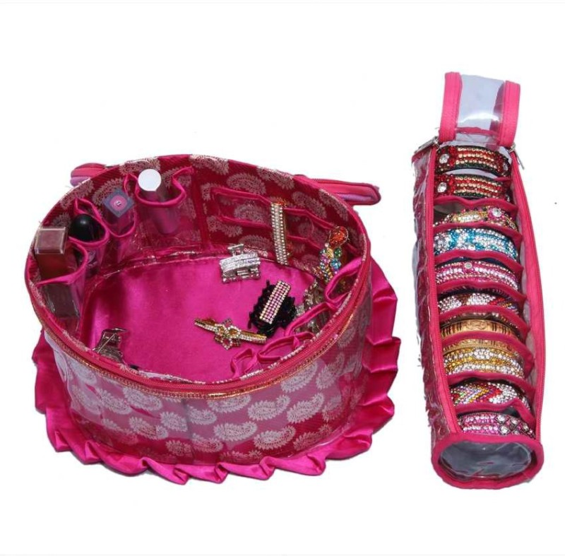 Kuber Industries Make Up Kit & Single Bangle Jewellery Vanity Box(Pink)