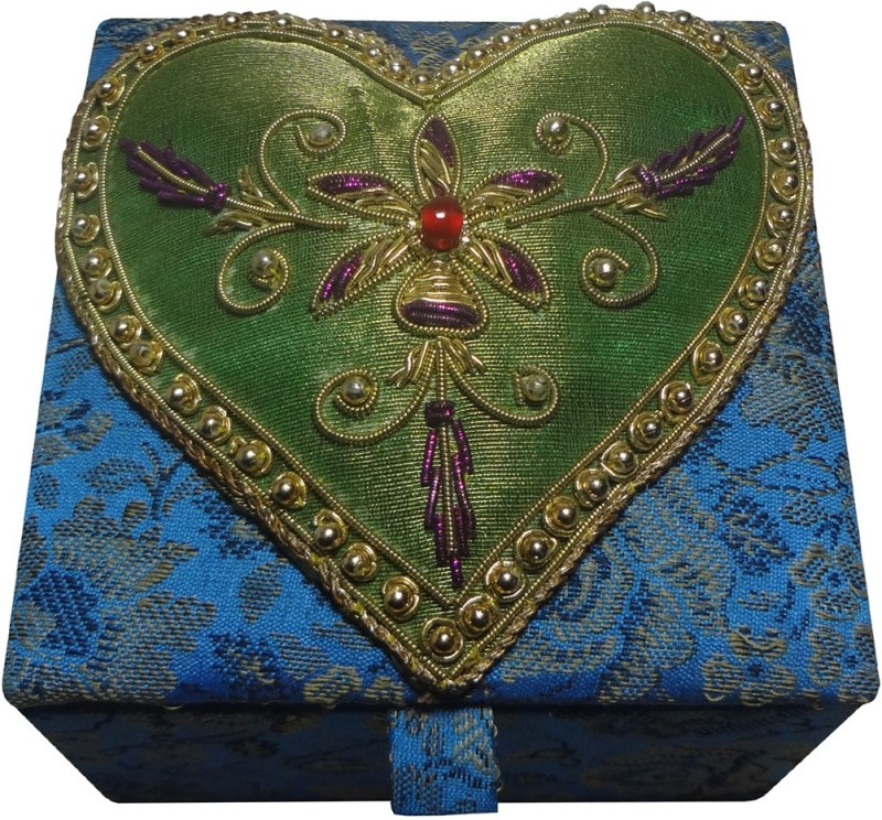 Avinash Handicrafts 10x10 cm Blue (heart design) Makeup, Jewellery, Decorative Vanity Box(Blue)