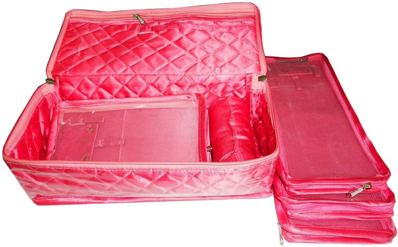 Atorakushon Bangle Necklace Earrings Tops Studs Half Set Bag Box Case Storage Pouch Vanity Box(Pink)