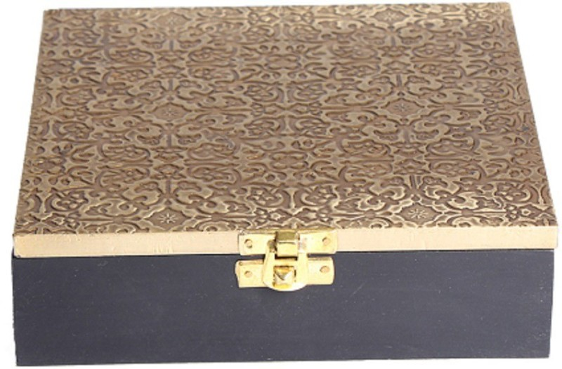 Apkamart Handicraft Wood and Brass Utility Case- 6 Inch- Square Design- for Table Décor and Gifts Multi Purpose Vanity Box(Multicolor)