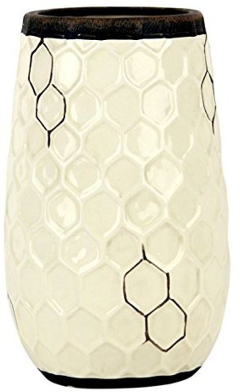 Hosley Decorative Cream Honycomb Ceramic Vase-9.5 IN High Ceramic Vase(9.5 inch, White)