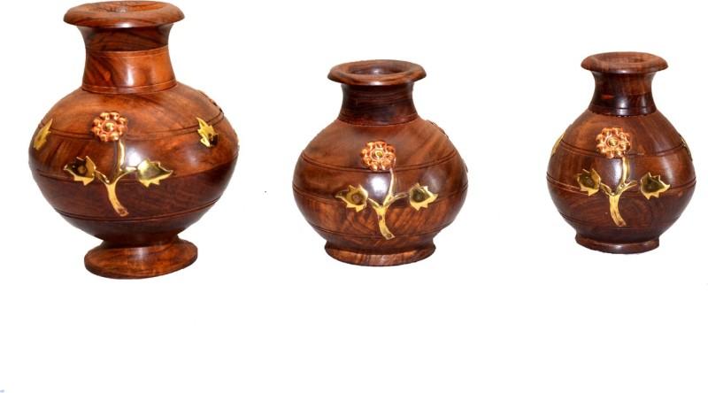 Seema Crafts Wooden Vase(7.5 inch, Brown)