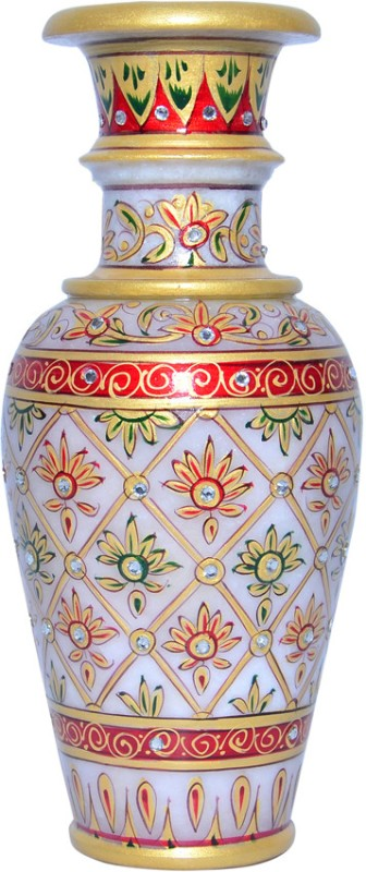 Vaah Marble Stoneware Vase(9 inch, Multicolor)