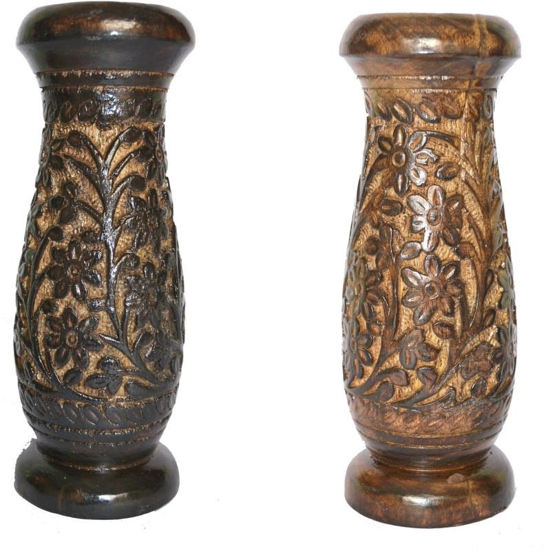 Woodino Handicrafts Wooden Vase(7.8 inch, Brown)