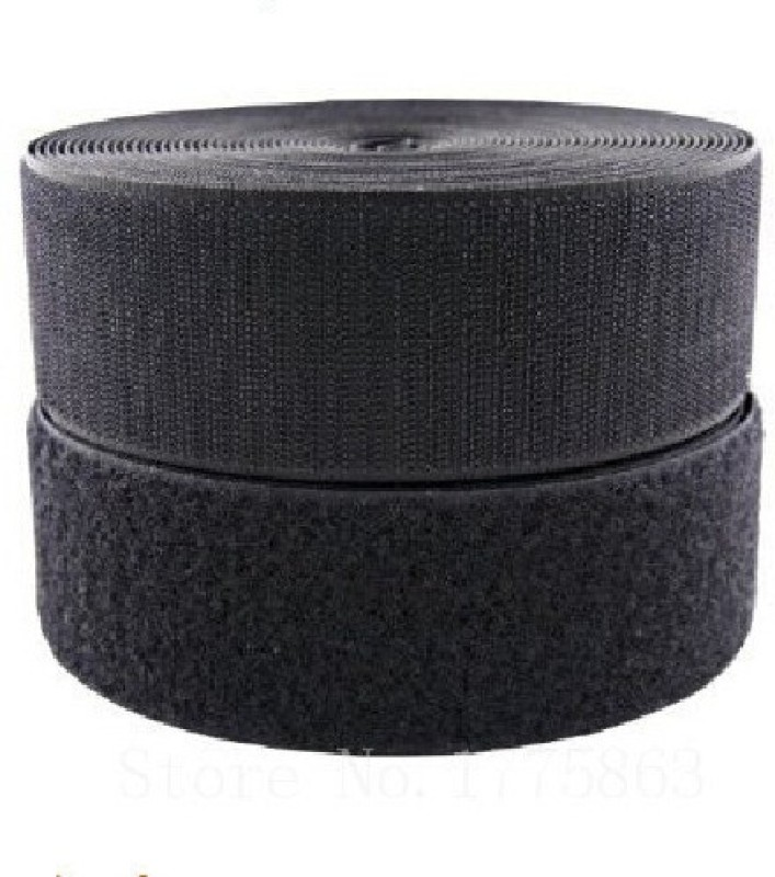 Vardhman Velcro tape industial quality , 2 inches ( 50 m ) width,color black, pack of 5 mts Sew-on Velcro(Black)