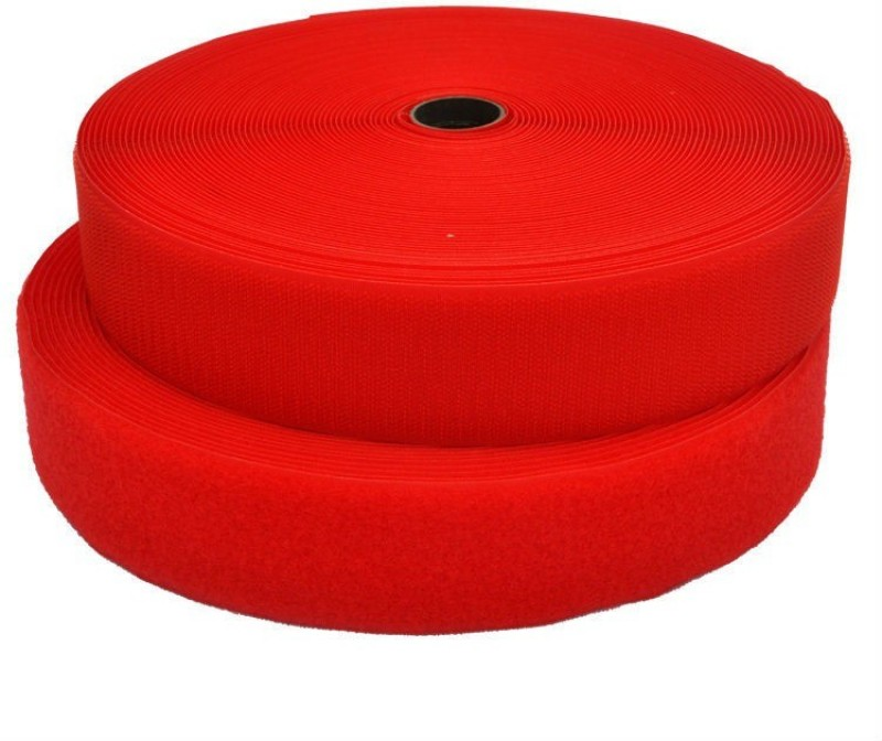Vardhman Hook & loop tape industrial quality, 3/4 inches (20 mm) width, color red , pack of 25 mts Sew-on Velcro(Red)