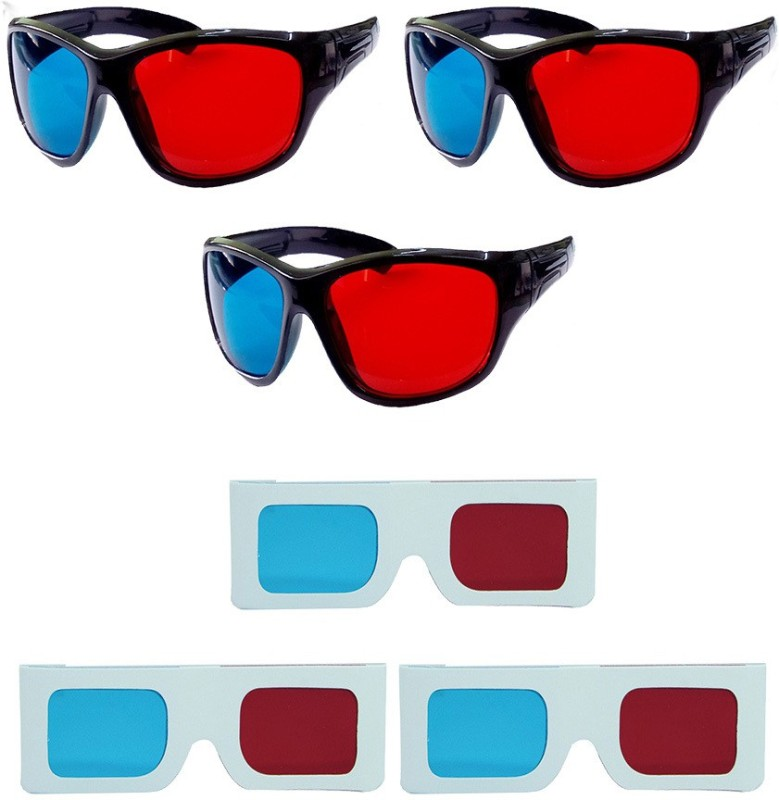Hrinkar Updated Version 3 Plastic + 3 Paper Video Glasses(Black)