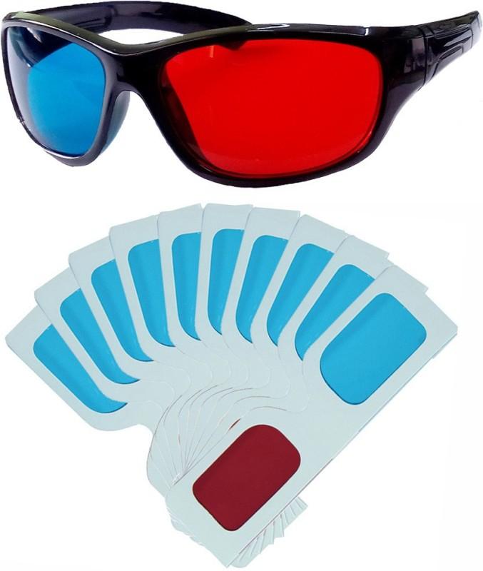 Hrinkar Updated Version 1 Plastic + 10 Paper Video Glasses(Black, white)