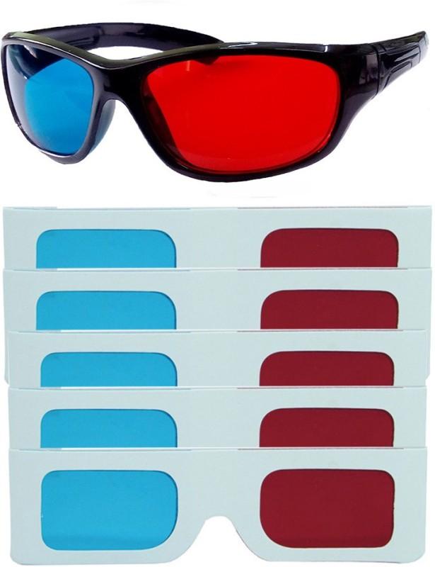 Hrinkar Updated Version 1 Plastic + 5 Paper Video Glasses(Black, white)