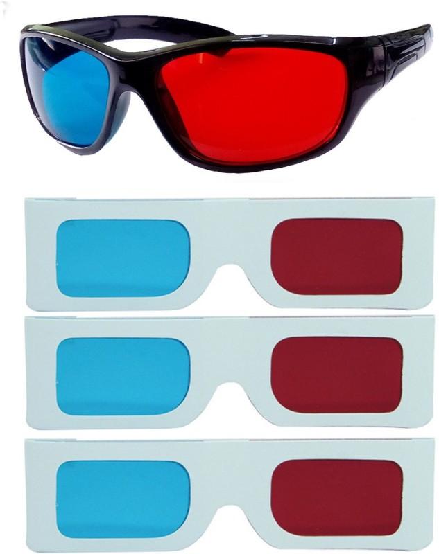Hrinkar Updated Version 1 Plastic + 3 Paper Video Glasses(Black, white)