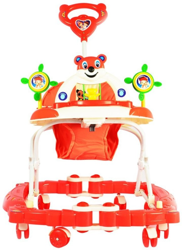 Panda Creation Musical Walker & Rocker With Parent Rod(Red)