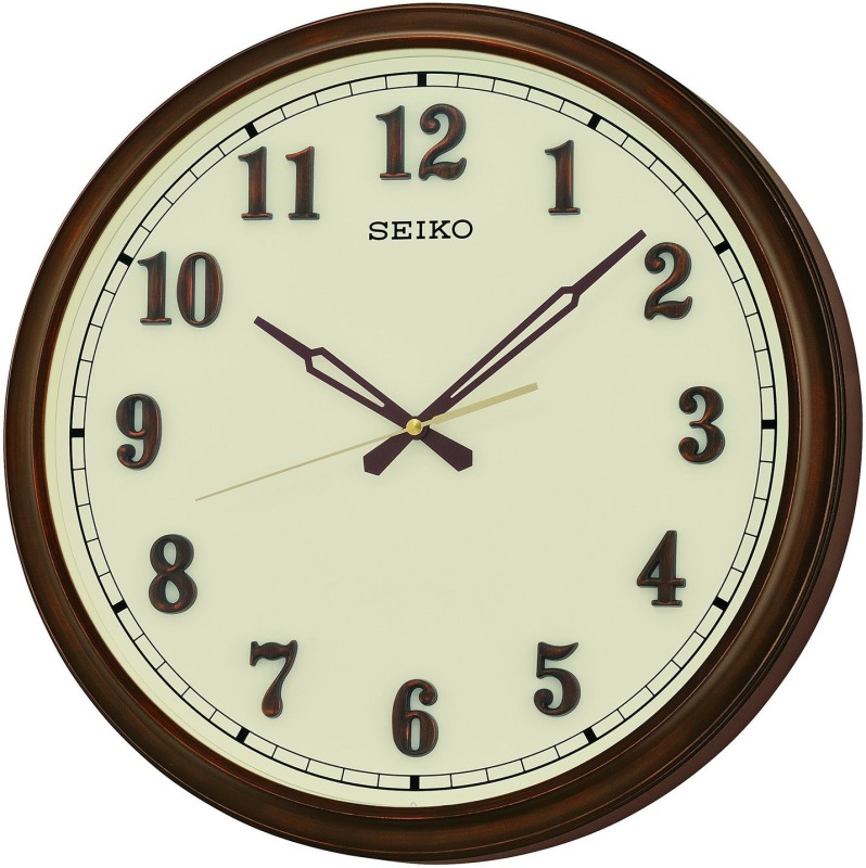 Seiko Analog 10 cm X 8 cm Wall Clock(Brown, With Glass)