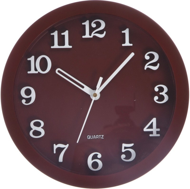 Smile2u Retailers Analog Wall Clock(Maroon, With Glass)